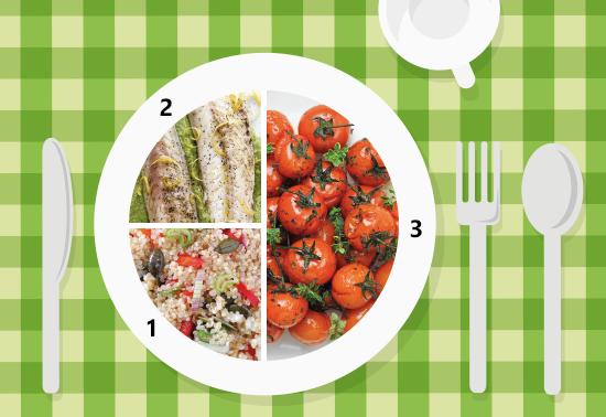 Piatto unico: pomodorini al forno, quinoa, sgombro